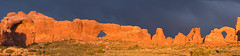 Wide View of the Windows. (brendatharp) Tags: rock utah storm archesnationalpark nature fineartprint day panorama light walldecor archesnp southwest outside geology arches sky horizontal dramatic coloradoplateau usa landscape art sandstone outdoor ut naturephotography daytime landscapes geological redrock stormy wallart wild red sunset formation stormlight wilderness