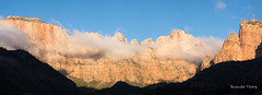 Virgin in the Clouds (brendatharp) Tags: shadow utah landscapes landscape usa ut nature wallart western mood formation panorama red wild naturephotography zionnationalpark outdoor walldecor west southwest geological outside cliff sandstone zion rock fog atmosphere horizontal wilderness zionnp geology