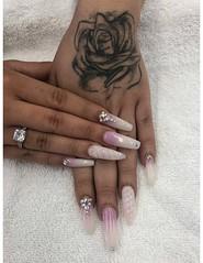 Creative Nails (NailArtsDelafield) Tags: acrylic nails nail powder short white pink ombre stiletto coffin fake enhancements creative designs beautiful long design enhancement artificial