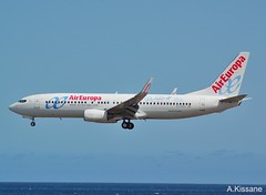 AIR EUROPA B737 EC-KCG (Adrian.Kissane) Tags: spain 737 landing sea sky outdoors flying boeing airl airliner aircraft jet plane aeroplane 492019 33987 b737 eckcg lanzarote aireuropa