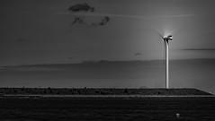 Clean Energy... (Aleem Yousaf) Tags: clean renewable energy wind farm turbine off shore generation natural source polution fossil fuels greenhouse gases action minimal monochrome tones vignette sky clouds camera digital long exposure water front motion movement blur copenhagen denmark travel telephoto nikon photowalk kastrup strandpark walk