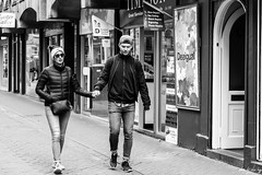Hand In Hand (Cycling-Road-Hog) Tags: blackwhite candid canoneos750d cap citylife colour couple efs55250mmf456isstm edinburgh edinburghstreetphotography fashion monochrome people places rosestreet scotland shades street streetphotography streetportrait style urban