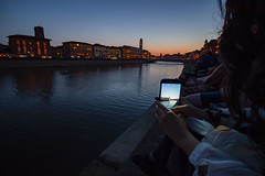 Luminara di San Ranieri (ChiaRAW.) Tags: sunset dusk light dark river girl pisa lungarno arno tuscany photos canon