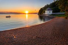 Home Soil (b.adolphi) Tags: hvervenbukta oslo norway sunset goldenhour beach water sea fjord house sun trees blue orange yellow red