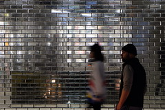 a silver lining (jhnmccrmck) Tags: melbourne victoria fujifilm fujifilmxt1 xt1 xf1855mm nighttime night classicchrome people pedestrians bricks glass