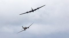 Flying Fortress & Skytrain (Bernie Condon) Tags: dunsfold wingswheels airshow surrey uk aviation aircraft flying display boeing b17 flyingfortress usaaf bomber ww2 vintage preserved warplane military sallyb dc3 skytrain douglas dakota c47 airliner transport cargo