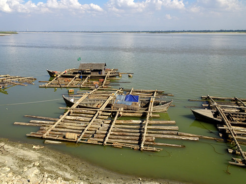 Outriggers on the Irrawaddy River near Mandalay in Myanmar
