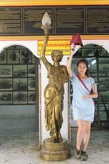 JEATH War Museum (ChalidaTour) Tags: thailand thai asia asian girl teen twen guide people person museum petite femme legs dress statue intrance beautiful sweet