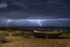 Storm on Eastbourne Beach (PeterBrooksPhotography) Tags: 2470 d500 eastsussex eastbourne night nikon peterbrooksphotography season storm summer sun sussex uk beach habitat sea sky ©peterbrooks