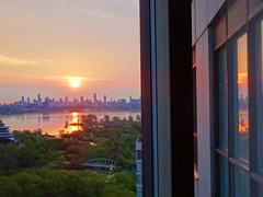 """""""Aging is an extraordinary process where you become the person you always should have been.""""  - David Bowie (Trinimusic2008 -blessings) Tags: trinimusic2008 judymeikle nature today sunrise sky sun morning goodmorningtoyou june 2019 spring viewfrommycondo window toronto to ontario canada hww reflections"""