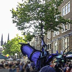 Towers and Street Parade I (CloudBuster) Tags: add tags feestje 2019 juni 16 straatfeest party street spui iamsterdam amsterdam i city capital the netherlands history buildings public dragon draak parade actors performance show glamour glitter blue blauw costume kostuum optreden tourism sightseeing clouds sunshine beauty visit zondagmiddag stad