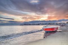 Altinkum, Didim, Turkey (birol.aydin) Tags: sunset middle river pier bench sea