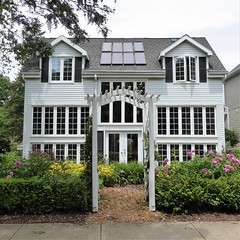 Wheaton, IL, Historic District, A New Infill House with Solar Panels (Mary Warren 13.5+ Million Views) Tags: wheatonil architecture building house residence white arch trellis solarpanels garden