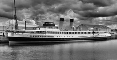 Scotland Greenock in the ship repair dock being restored to how she looked in 1933 the TS Queen Mary 19 June 2019 by Anne MacKay (Anne MacKay images of interest & wonder) Tags: scotland greenock ship repair dock docked monochrome blackandwhite clyde steamer steamship ts queen mary 19 june 2019 picture by anne mackay