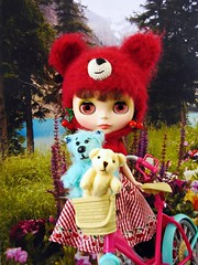 Not Lost (Leslieshappyheart) Tags: picnicalfresco teddybears bicycle blythedoll