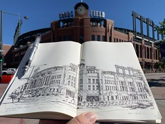 My son was drafted by by the Colorado Rockies last week - While we were out there, I did a sketch of his, hopefully, someday home.  Coors Field - Denver, Colorado (schunky_monkey) Tags: fountainpen penandink ink pen drawing draw journal sketchbook sketching sketch illustration art structure building brick architecture stadium majorleaguebaseball baseball coloradorockies colorado denver coorsfield