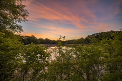 Sunset over Wing Lake (Mercenaryhawk) Tags: summer lake water leaves minnesota clouds canon eos colorful pretty painted gorgeous wing dramatic r swamp mn minnetonka 5ds 5dsr pink blue sky reflection green night warm cloudy sp sns 28 lilypads hdr 14mm rokinon