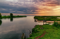 Changes (Alfred Grupstra) Tags: nature water river outdoors landscape grass lake sky scenics summer ruralscene tree reflection cloudsky greencolor nopeople tranquilscene sunset blue beautyinnature 969