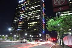 Atlanta Pride Lights (Chuck Diesel) Tags: atlanta night pridemonth rainbow lgbt slowshutter lighttrails bbt atlanticstation building colorful lights