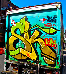 Graffiti Truck. Lower Manhattan . SK.  DEBS. BIGGIE. LIS. STV. (Allan Ludwig) Tags: graffititruck lowermanhattan sk debs biggie lis stv