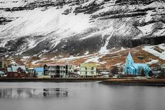 Seyðisfjörður (archkoven13) Tags: iceland 冰島 小鎮 雪景 湖畔 倒影 教堂 山脈 黑白 佳能 canon6d2 風景 landscape lake