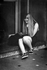 nowhere girl (marikoen) Tags: mechelen streetphotography blackandwhite girl