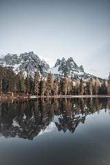 Reflection goal (lasz.patrik) Tags: reflection dolomiti mountains alps italy southtyrol lake sea sky pinetree forest water mountain roamer adventure camp outside