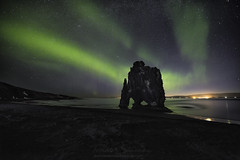 The Genie of the Rock (tsanchezruiz) Tags: iceland auroraborealis hvítserkur rhino green northernlights greenlights stars longexposure nightphotography nightshot nightscape islandia largaexposición auroraboreal playa