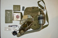 WW-2 U.S. Gas Mask (Pacific Kilroy) Tags: ww2 wwii worldwarii pacifictheater army us gas mask gaskmask goodyear chemicalwarfare equipment gear
