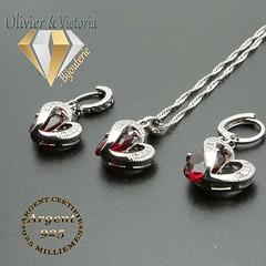 Parure coeurs rouges en plaqué argent (olivier_victoria) Tags: boucles boucle doreille pendentif zircon coeur chaine doreilles rouge oreilles
