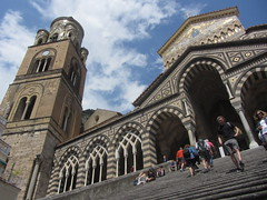 Perspective's for wimps (shaggy359) Tags: italy campania amalfi duomo cathedral santandrea saint st andrew perspective tower step steps arch arches up upwards people tourist tourists climb climbing sky clouds