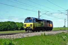 Colas Railfreight class 70 . (steven.barker57) Tags: colas rail freight railfreight class 70 70806 diesel train loco locomotive yellow orange east coast main line sun sunny bradbury north england uk