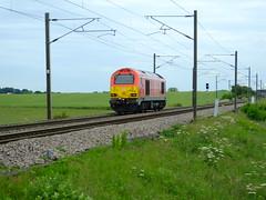 DB class 67 . (steven.barker57) Tags: class 67 diesel loco locomotive db schenker 67004 red sunny bradbury east coast main line train trains light engine uk england