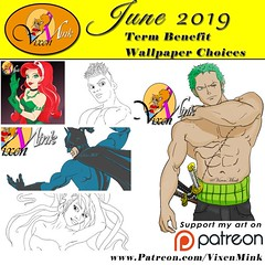 June Term Benefits Pt. 1 6/19 (VixenMink) Tags: patreon dailyposts batman bubbleguppies digitalart muscles onepiece poisonivy roronoazoro termbenefit traditionalart vmbasicpack vixenmink