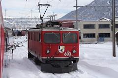 20101130 007 Samedan. 603 (15038) Tags: railways trains switzerland rhaetianrailway rhätischebahn ferroviaretica viafierretica rhb ge44i electric locomotive samedan 603