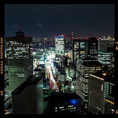 City Lights (instagram.com/dimush) Tags: portra400 rolleiflex 120mm kodak portrait analog 120мм 120film среднийформат epsonv700 rolleiflex28e 120 portra grainisgood girl tlr 6x6 пленка film mediumformat tokyo japan
