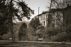 Sepia studies 1. (tony allan tony allan) Tags: houses trees park hastings nikond80 m42 manualfocus sepia sigma70210mmlens legacyglass