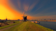 Two mills and a boat 2 (Wim Koopman) Tags: digital art flowing glowing abstraction mill windmill boat ferry river mood atmosphere