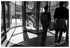Byporten (Mona_Oslo) Tags: byporten door shoppingcenter blackandwhite monochrome bw streetphotography streetshot people oslo shadowandlight monajohansson
