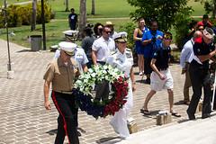 "Brig. Gen. Salene & Rear Adm. Chatfield hold a wreath during the 75th anniversary of the Battle of Saipan (#PACOM) Tags: 75thanniversary saipan worldwarii pacifictheater usindopacificcommand ""usindopacom"