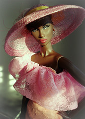 Lady with hat (Deejay Bafaroy) Tags: fashion royalty fr integrity toys doll puppe adele makeda timeless black schwarz portrait porträt barbie dress kleid hat hut pink rosa sunny sonnig