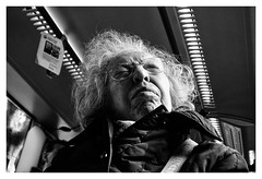sensations and memories can hurt you (MarcoBertarelli) Tags: portrait woman aged old wise expression moment street photography monochrome monochromatic bw bus sony contrast shadows lights