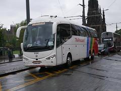 Weardale of Stanhope Irizar I6 Integral YN18ZNR, in Trafalgar Tours livery, at Princes Street, Edinburgh, on 28 May 2019. (Robin Dickson 1) Tags: busesedinburgh weardaleofstanhope irizari6integral yn18znr trafalgartours