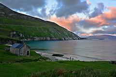 Keem bay. (carolinejohnston2) Tags: ireland bay coast shore cliffs sunset sky clouds sea tide seaside ocean waves atlantic island cottage landscape outdoors seascape comayo
