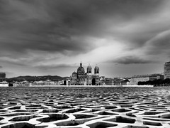 Over the Roof (DaveKav) Tags: marseille cathedralesaintemariemajeuredemarseille mucem roof interestingforeground france blackandwhite bw