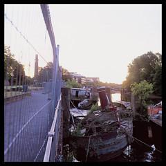 DEEPWATER (Jamie Langford) Tags: rolleiflex t35 velvia50 120film mediumformat analogue brentford boats thames watermanspark london sunrise