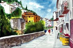 Carrerra del Darro2 (Dr Graham Beards) Tags: carreradeldarrogranadawatercolor granada darro andalucia alhambra spain watercolor watercolour