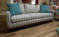 238 Sofa by Smith Brothers (Brian's Furniture) Tags: cleveland furniture store high quality 85long 238 sofa loose back track arm wood trim butternut stain fabric 406204 pillows 334711 smith brothers berne brians westlake ohio 44145