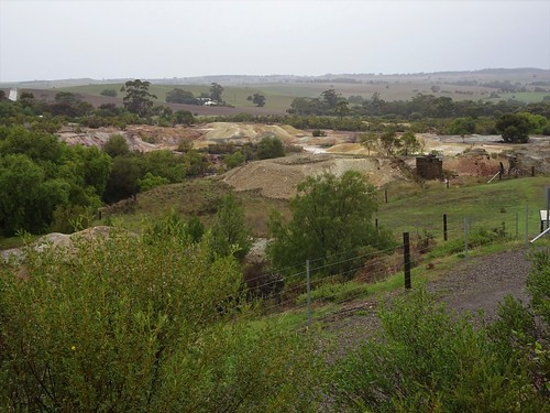 Kapunda. A view across the main open cut copper mine which began operating around 1844. Behind this site was the Francis  Dutton copper mine which began in 1842..