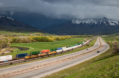 Storm'sa Comin' (Wheelnrail) Tags: up union pacific mountain green utah ut manifest freight west is best storm ominous spring clouds wasatch range rockies salt lake emd sd70ace weber canyon i80 locomotive
